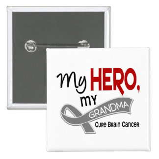 Brain Cancer MY HERO MY GRANDMA 42 Button
