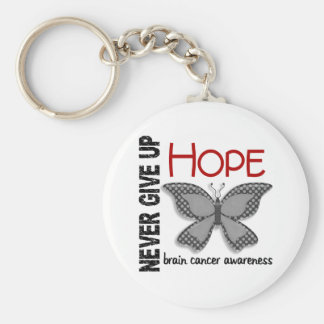 Brain Cancer Never Give Up Hope Butterfly 4.1 Basic Round Button Keychain
