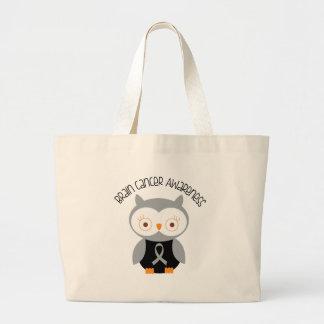 Brain Cancer Owl Grey Ribbon Large Tote Bag