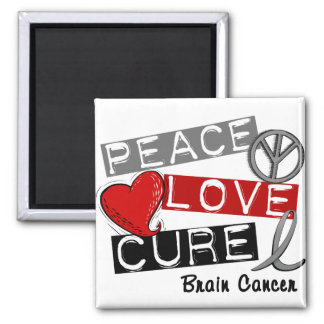 Brain Cancer PEACE LOVE CURE 1 2 Inch Square Magnet