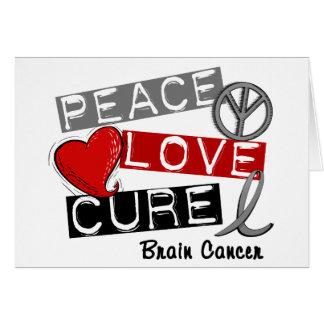 Brain Cancer PEACE LOVE CURE 1 Greeting Card