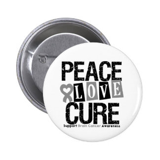 Brain Cancer Peace Love Cure Button