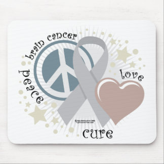 Brain Cancer Peace Love Cure Mouse Pad
