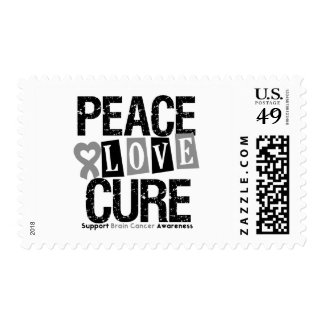 Brain Cancer Peace Love Cure Postage