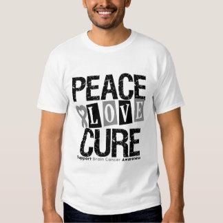 Brain Cancer Peace Love Cure Tee Shirt