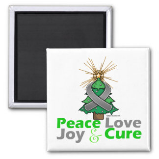 Brain Cancer Peace Love Joy Cure 2 Inch Square Magnet