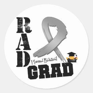Brain Cancer Radiation Therapy RAD Grad Classic Round Sticker