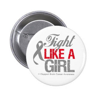 Brain Cancer Ribbon - Fight Like a Girl 2 Inch Round Button