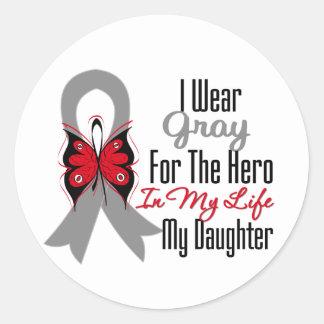 Brain Cancer Ribbon Hero My Daughter Classic Round Sticker