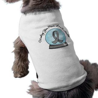 Brain Cancer Ribbon Merry Christmas Snowglobe Pet T Shirt