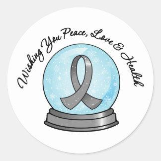 Brain Cancer Ribbon Merry Christmas Snowglobe Classic Round Sticker