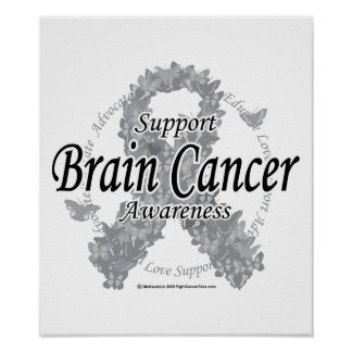 Brain Cancer Ribbon of Butterflies Poster