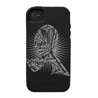 Brain Cancer Ribbon Powerful Slogans iPhone 4 Covers