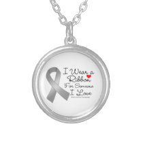 Brain Cancer Ribbon Someone I Love Silver Plated Necklace