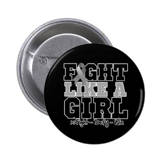 Brain Cancer Sporty Fight Like a Girl 2 Inch Round Button