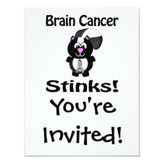 Brain Cancer  Stinks Skunk Awareness Design 4.25x5.5 Paper Invitation Card