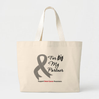 BRAIN CANCER SUPPORT For My Partner Canvas Bags