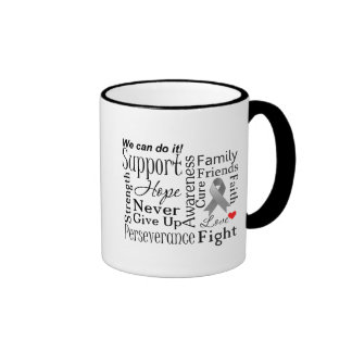 Brain Cancer Supportive Words Coffee Mugs