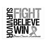 Brain Cancer Survivor Fight Believe Win Motto Postcards