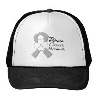 Brain Cancer Survivor Flower Ribbon Mesh Hats