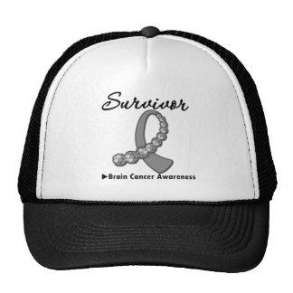 Brain Cancer Survivor Gemstone Ribbon Mesh Hats