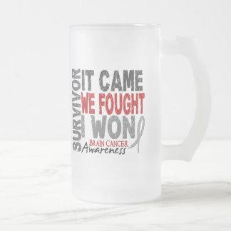 Brain Cancer Survivor It Came We Fought I Won 16 Oz Frosted Glass Beer Mug