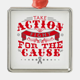 Brain Cancer Take Action Fight For The Cause Square Metal Christmas Ornament