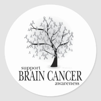 Brain Cancer Tree Classic Round Sticker