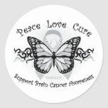 Brain Cancer Tribal Butterfly Classic Round Sticker
