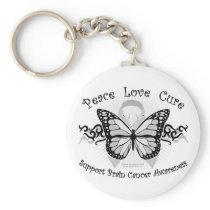Brain Cancer Tribal Butterfly Keychain