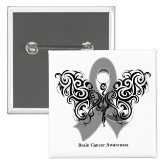 Brain Cancer Tribal Butterfly Ribbon 2 Inch Square Button