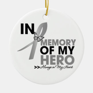 Brain Cancer Tribute In Memory of My Hero Christmas Tree Ornament