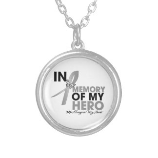 Brain Cancer Tribute In Memory of My Hero Round Pendant Necklace