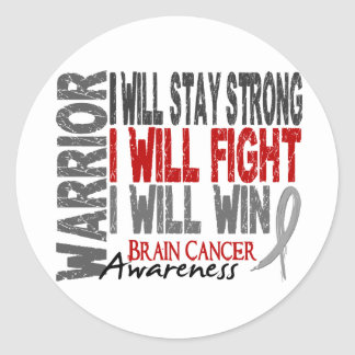 Brain Cancer Warrior Classic Round Sticker