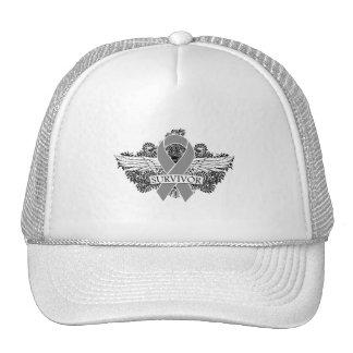 Brain Cancer Winged SURVIVOR Ribbon Trucker Hat