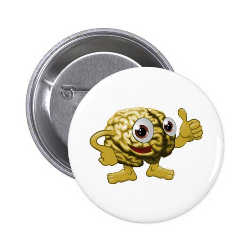 Brain cartoon character illustration buttons