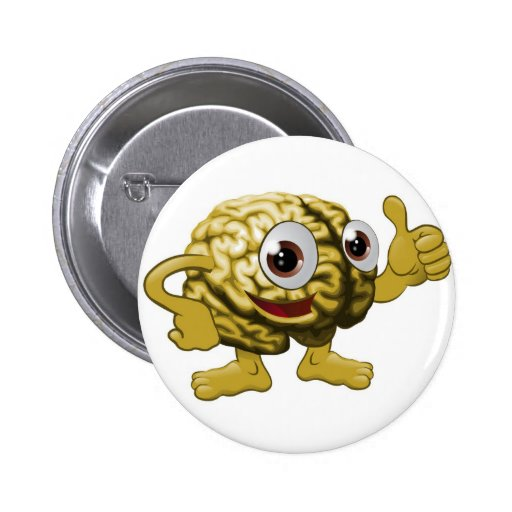 Brain cartoon character illustration pinback button