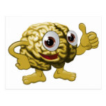 Brain cartoon character illustration post cards