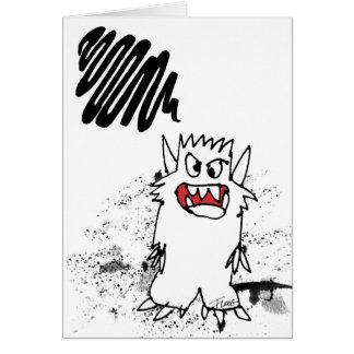 Brain Cloud Cartoon Monster Greeting Card