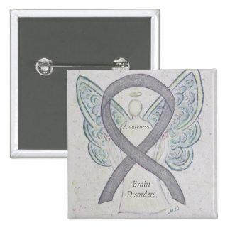 Brain Disorders Silver Awareness Ribbon Angel Pin