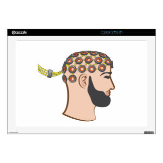 "Brain EEG electrodes Bearded Man vector 17"" Laptop Decal"