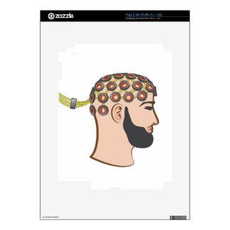 Brain EEG electrodes Bearded Man vector iPad 2 Decals