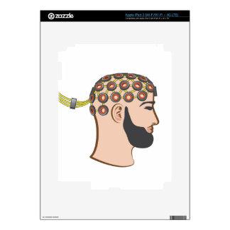 Brain EEG electrodes Bearded Man vector iPad 3 Decal