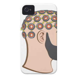 Brain EEG electrodes Bearded Man vector iPhone 4 Case