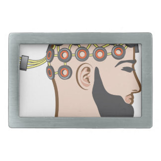 Brain EEG electrodes Bearded Man vector Rectangular Belt Buckle