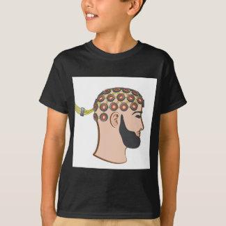 Brain EEG electrodes Bearded Man vector T-Shirt