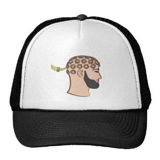 Brain EEG electrodes Bearded Man vector Trucker Hat