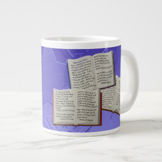 Brain Food Books Quotes Blue Stars Jumbo Mug