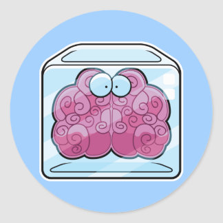 Brain Freeze Cartoon Classic Round Sticker