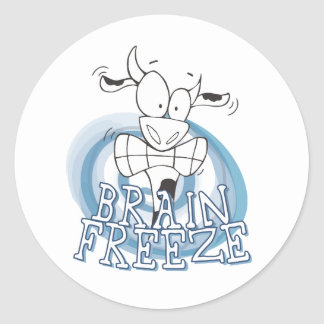 Brain Freeze with cow Classic Round Sticker